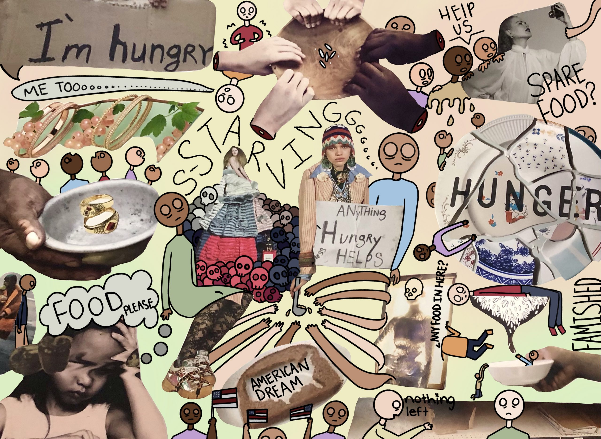 """Covid-19 Increased Food Insecurity, Mariah Vazquez <br>  3.5 x 10"""" <br> Digital Drawing and Collage<br>"""
