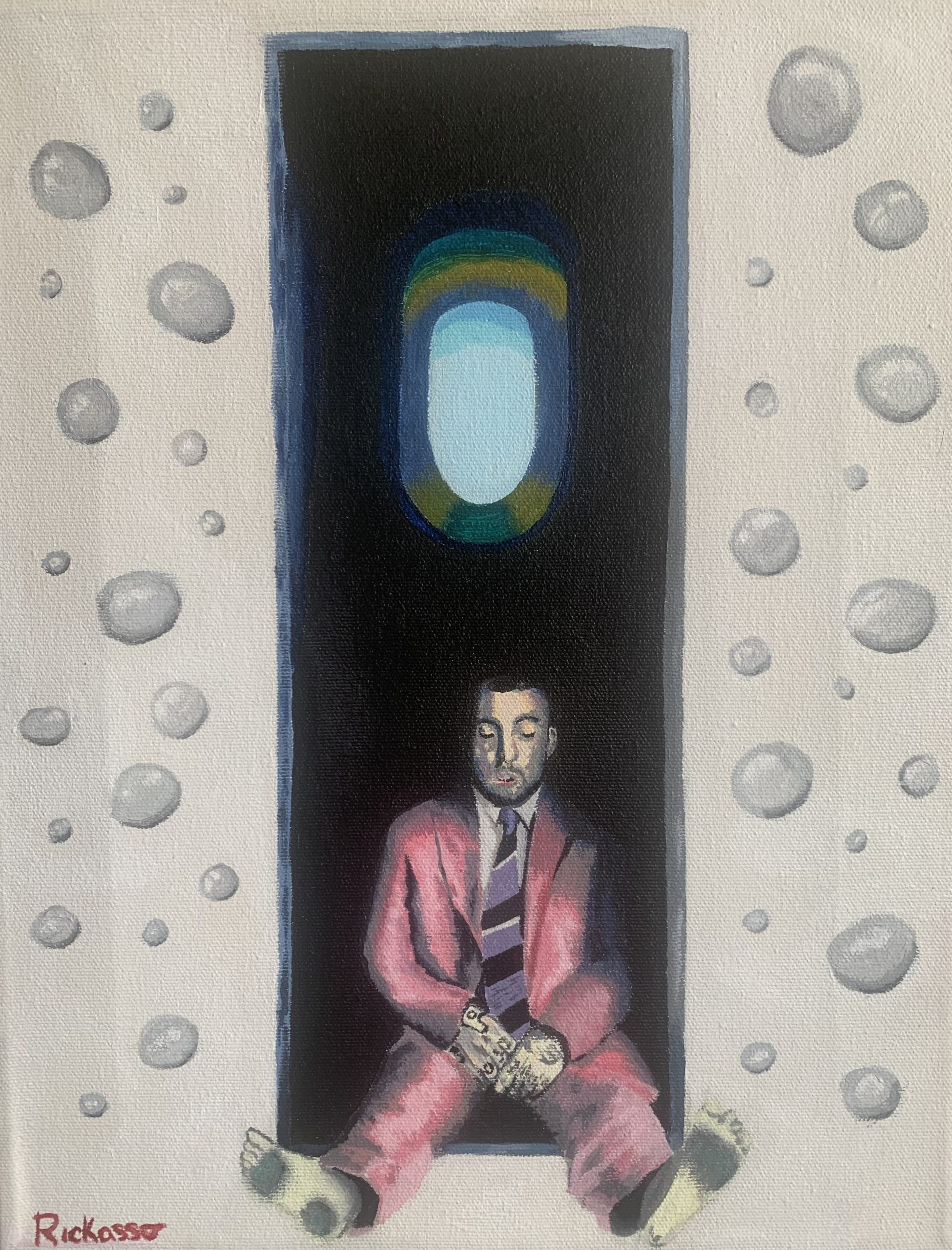 """Mac Miller Swimming Cover,  Rickasso Edition, Richard Linares <br>11 x 14"""" <br>Acrylic on canvas<br>"""