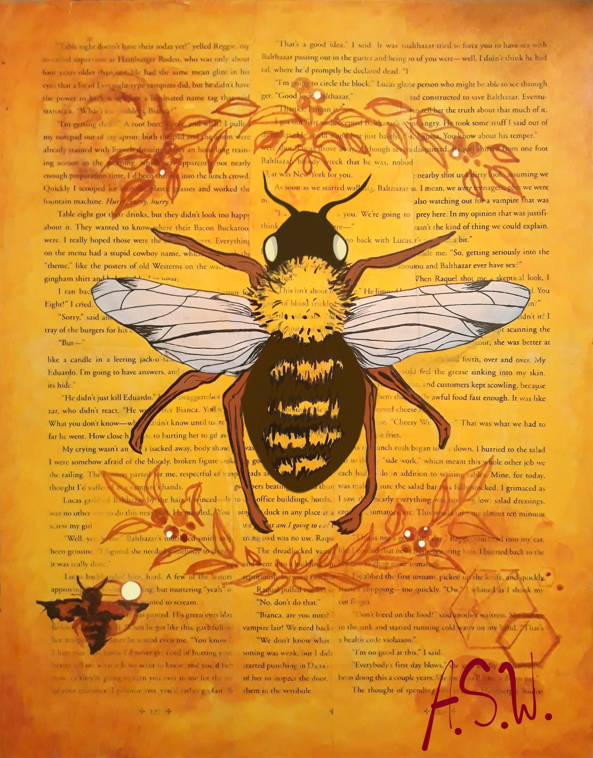 """Newspaper Bee, Ashley Wright<br>11 x 14""""<br>Mixed media with <br> digital touch-up"""
