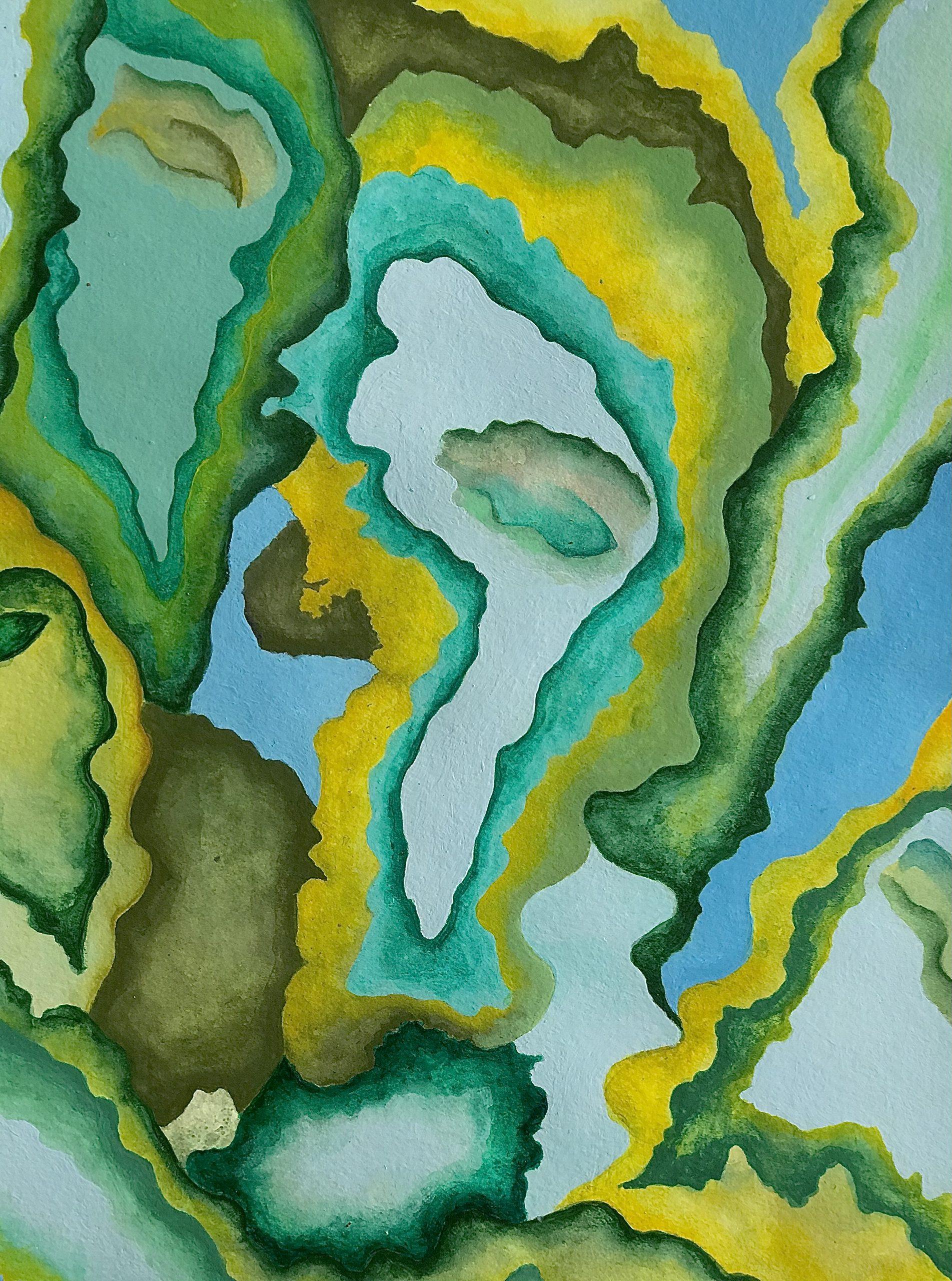 """Subconscious, Emilia Wrocenska <br>9 x 12"""" <br>Acrylic and watercolor<br>"""